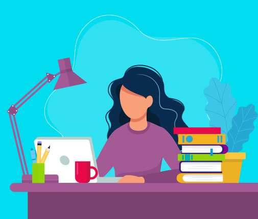 Illustration of woman working at a busy desk